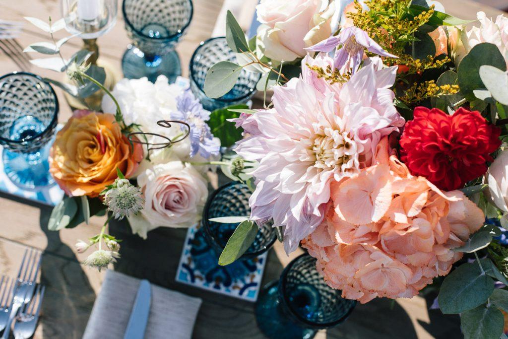 boho wedding blue burgundy dusty flowers