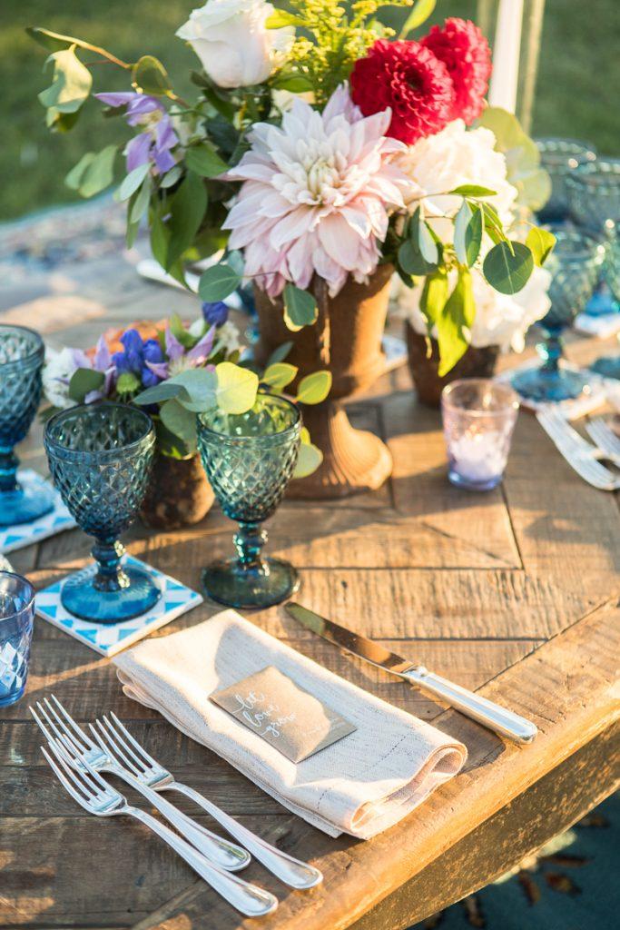 blue burgundy boho wedding table